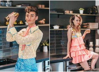 Grant Newsome and Sarah Mullerleile modeling two looks from Rebekah Anne's spring/summer Fashion Week MN collection. Photo by Madeline Wilcox.