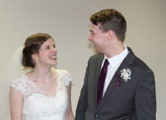 Emma and Sam Johnson had their wedding in their pastor's office amid the coronavirus pandemic.