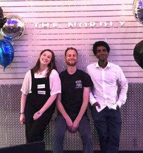 Nordly staff members, from left: Anna Larranaga, Jonathan Gershberg and Aron Woldeslassie