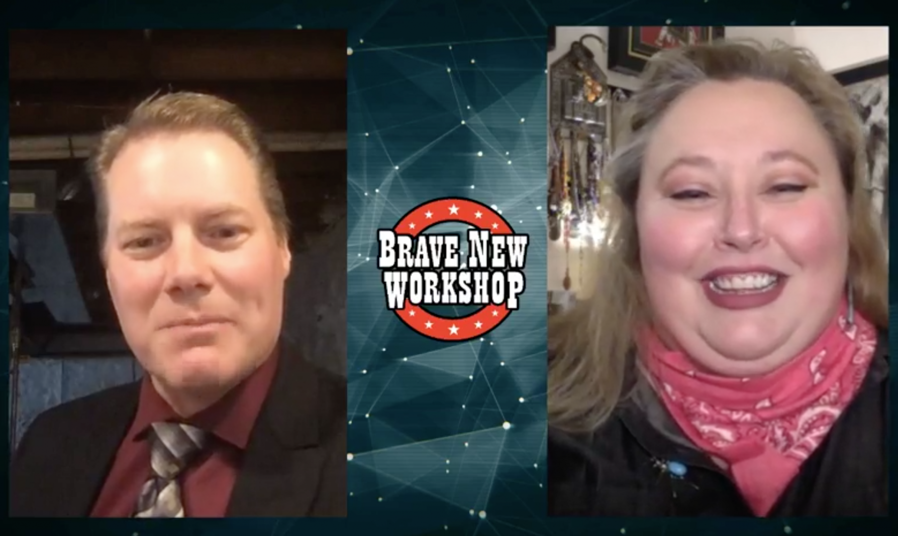 """Improv comics Caleb McEwan and Lauren Anderson appear in split-screen in the second episode of """"Brave New Workshop Goes Viral"""""""