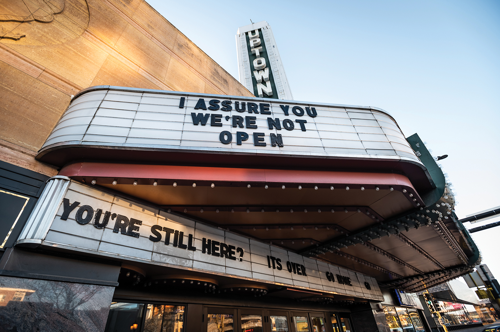 """The shuttered Uptown Theatre in Minneapolis updates a line from 1994 cult classic """"Clerks"""""""