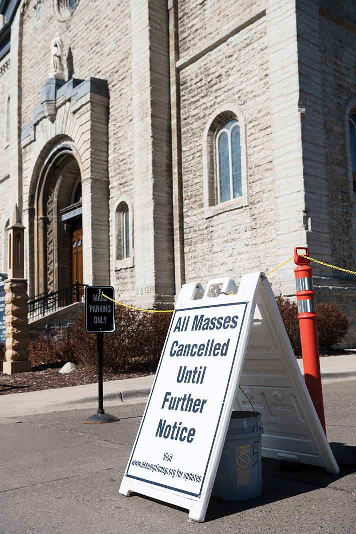 Churches like Church of the Assumption in St. Paul are closed as part of limit on large gatherings