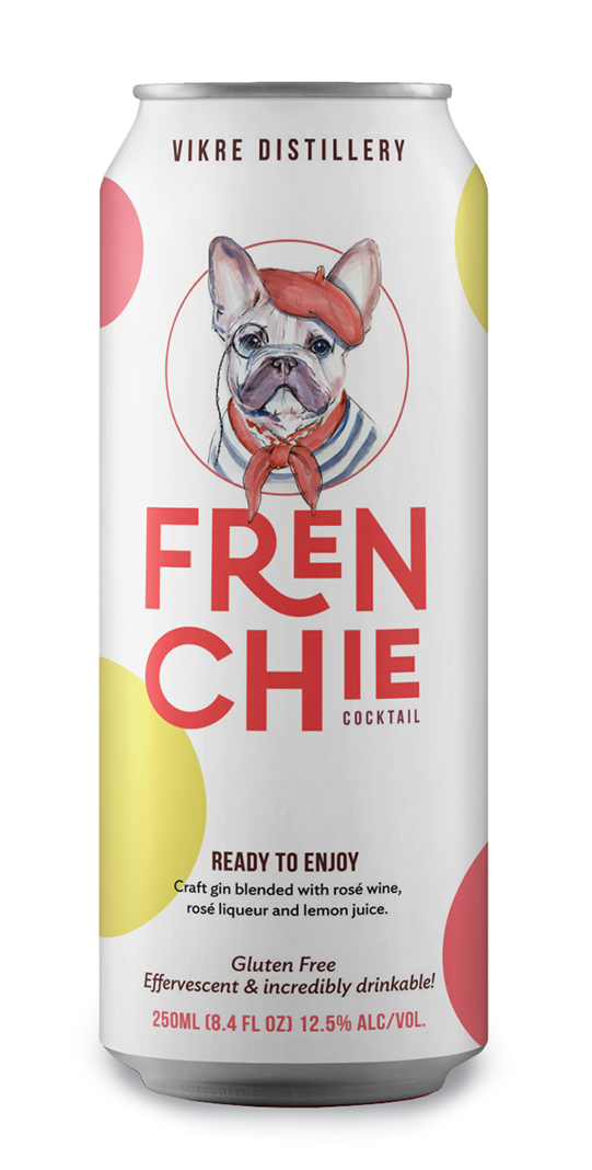 Frenchie Cocktail, a canned mix of gin, sparkling rosé, and liqueurs by Vikre Distillery