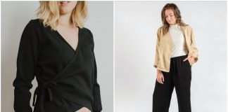 From left: Shelby Organic Cotton Wrap Top, founder Meg Rohs in the Thomas Lyocell Jacket and David wide-leg pant. Courtesy Nine56 Studio.