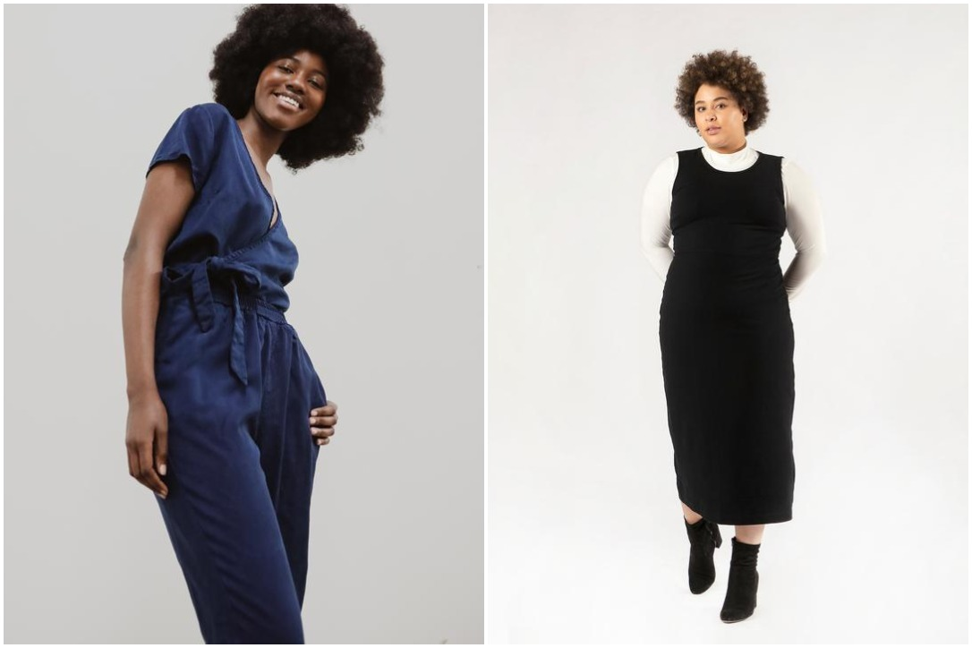 From left: the Danielle Lyocell pant and the Michele Lyocell Wrap Top in indigo, Darsi Midi Soy and Organic Cotton Dress