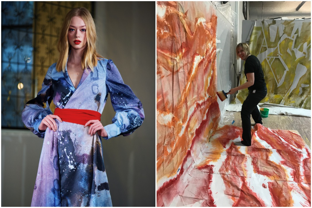 """From left to right: One """"Afterglow"""" look by Laura Fulk, an artist working on the large canvases for the hanging garments of the show"""
