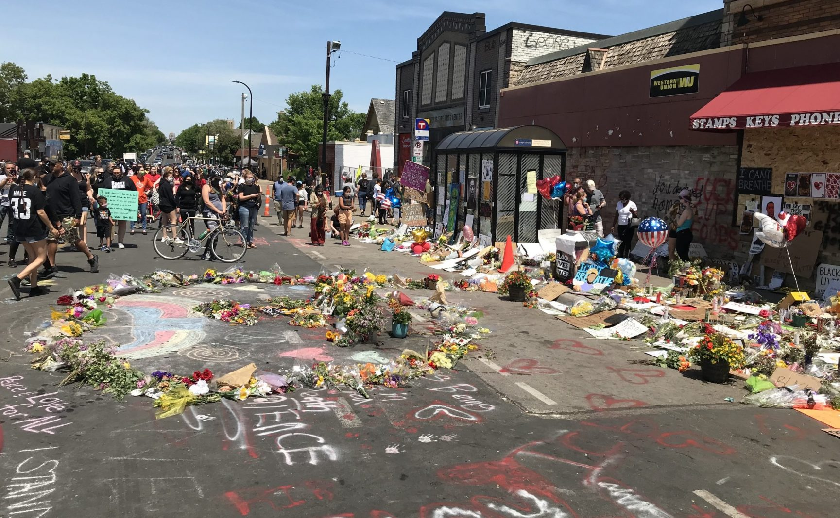 Memorial outside Cup Foods in Minneapolis, where George Floyd was killed