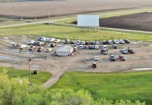 Aerial view of Sky Vu Drive-In Movie Theater in Warren, Minnesota in the springtime