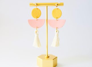 clay earrings made by grey + clay, perfect for Mother's Day