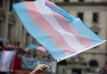 A transgender flag waved at LGBTQ Pride march