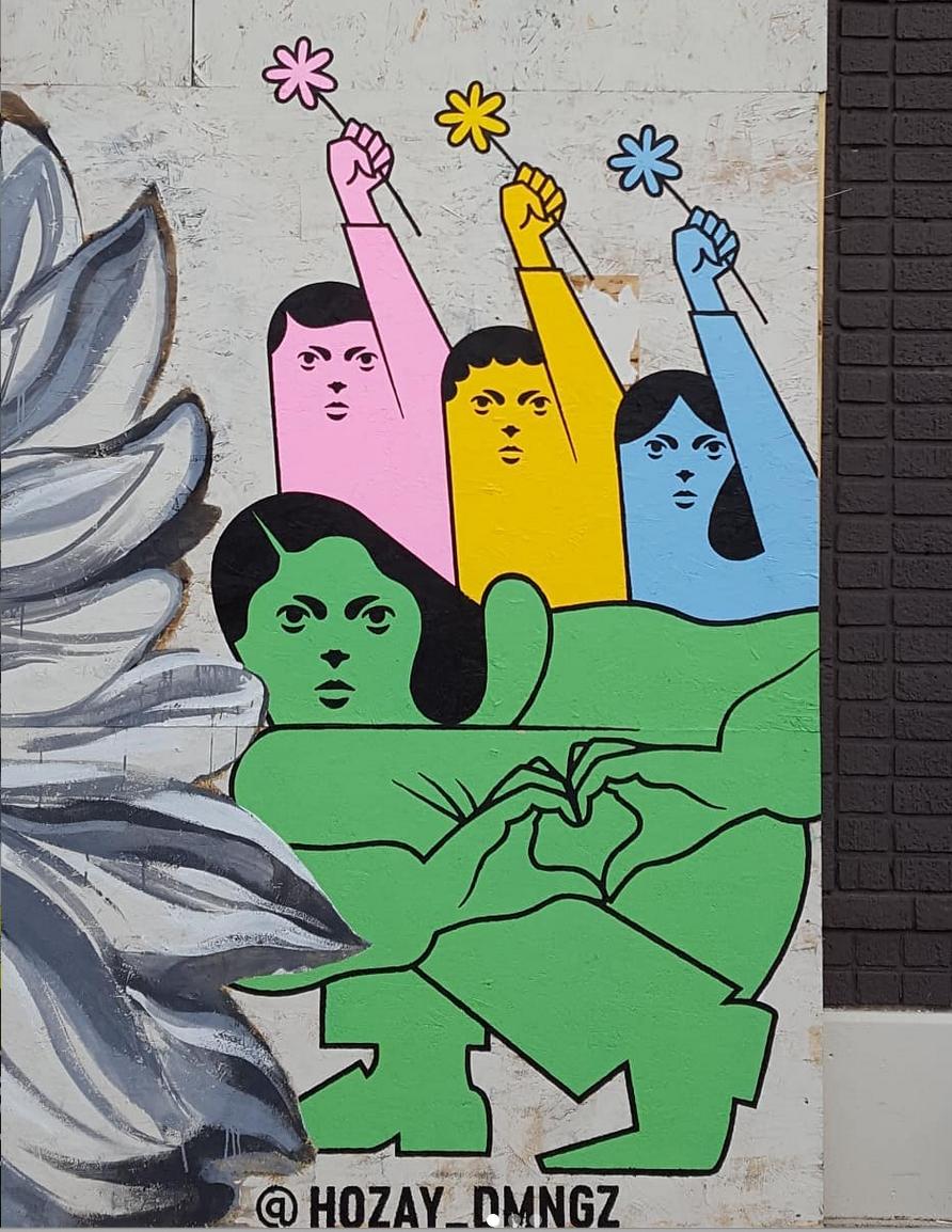 Mural in honor of George Floyd by artist Jose Dominguez.