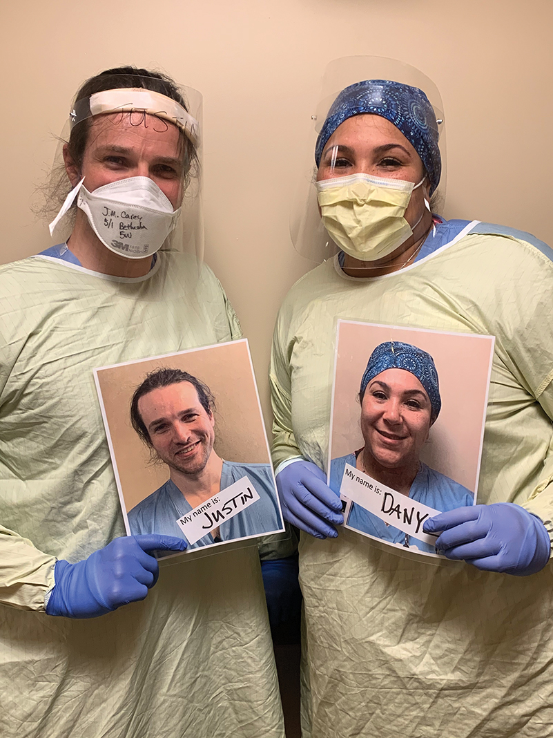 """M Health Fairview's """"Caregiver Smiles"""" project encourages medical professionals to carry around pictures of themselves smiling."""