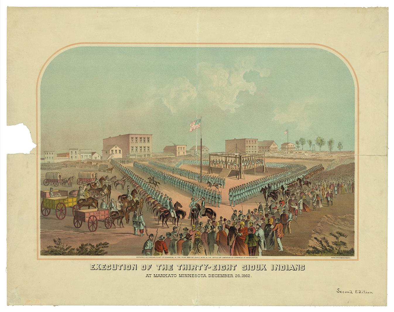 Lithograph of the execution of 38 Dakota men,