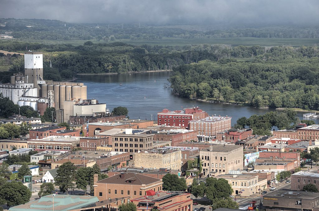 Overlook of downtown Red Wing buildings and the Mississippi River