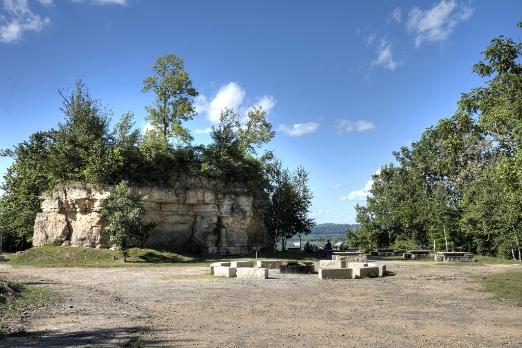 Bonfire pits and picnic areas at Memorial Park in Red Wing