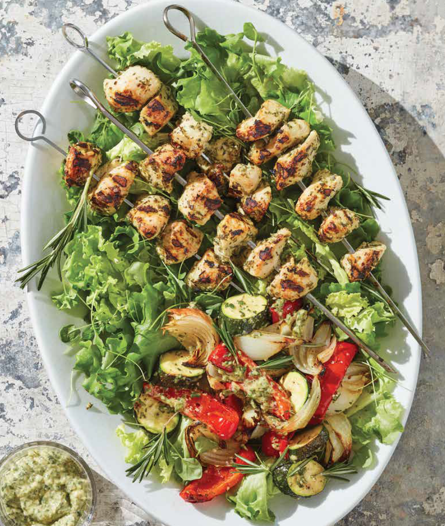 Mediterranean Herb Paste with Grilled Chicken and Summer Vegetable Kebabs