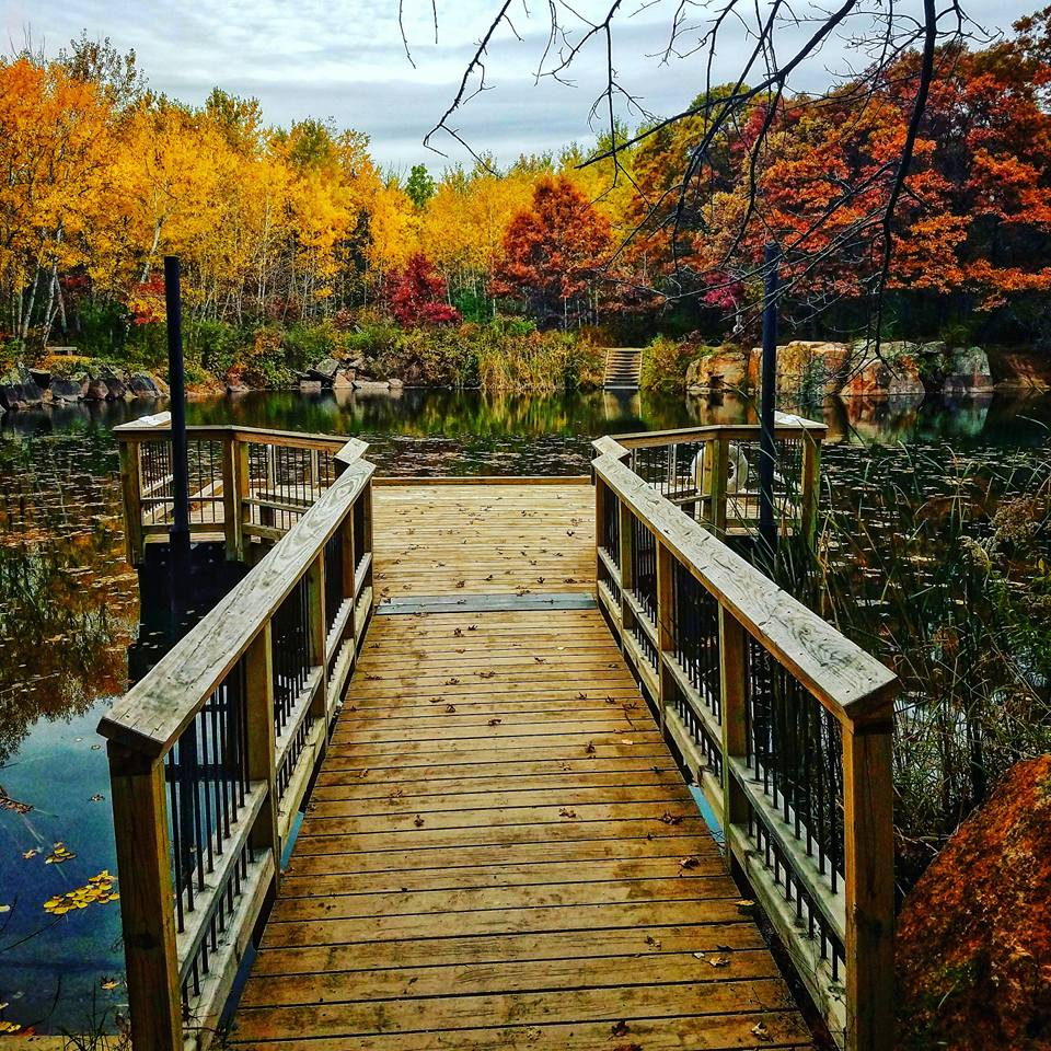 Dock at one of the swimming holes at Quarry Park & Nature Preserve in St. Cloud