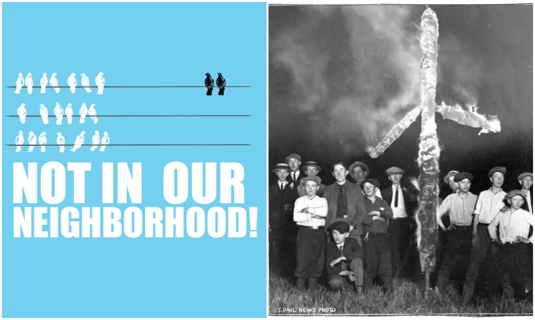 "The two ""Not in Our Neighborhood!"" promotional images: The first was used for the History Theatre's season overview, and the second was for its appearance in the Raw Stages festival."