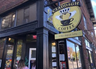 Claddagh Coffee's Wee Little Shop on Selby Avenue is one of the many coffee shops in the Twin Cities area to have a service window for contactless coffee stops