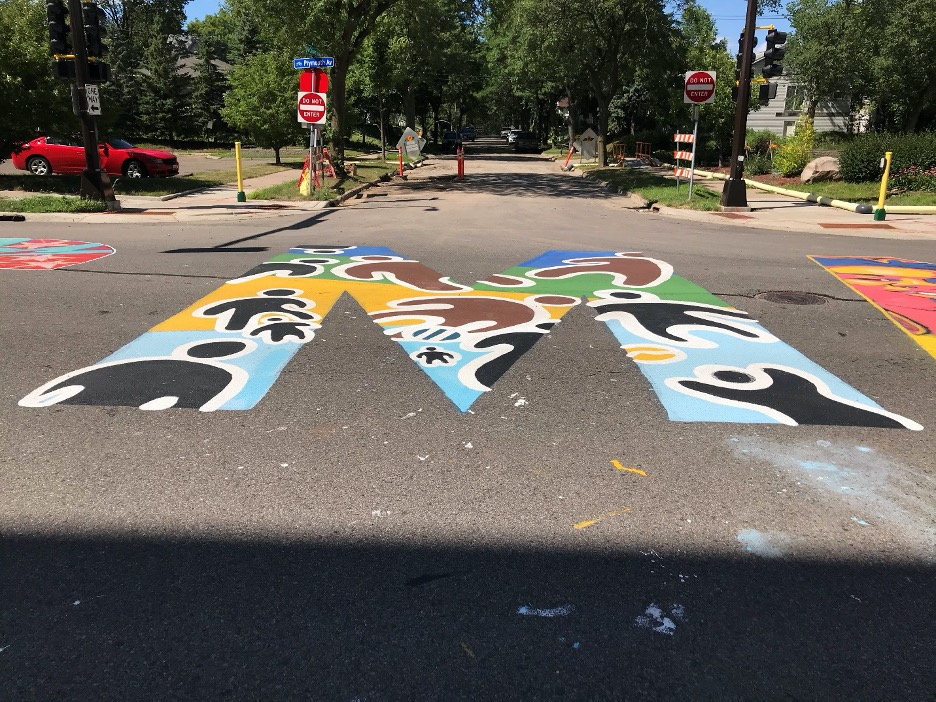 "Chris Harrison's ""M"" in the ""Black Lives Matter"" street mural on Plymouth Avenue North"