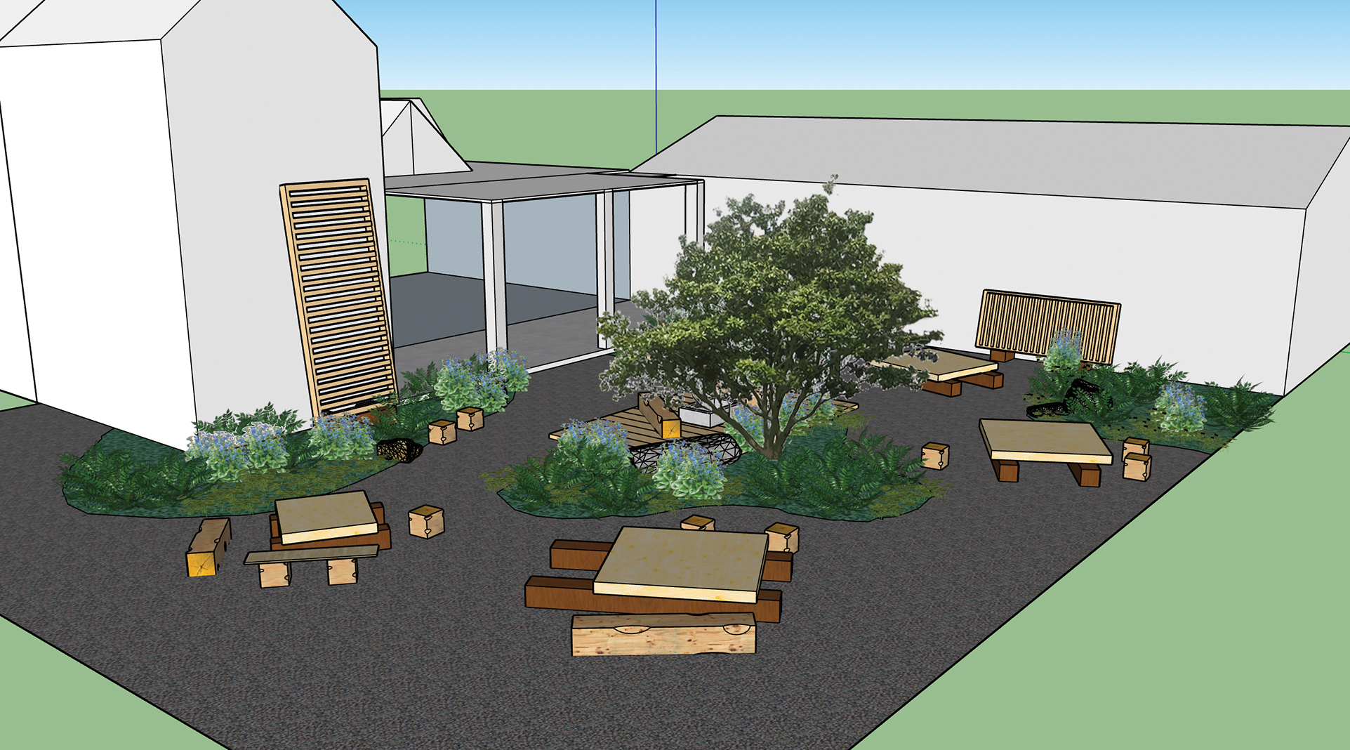 Rendering of Franconia Sculpture Park's outdoor seating area