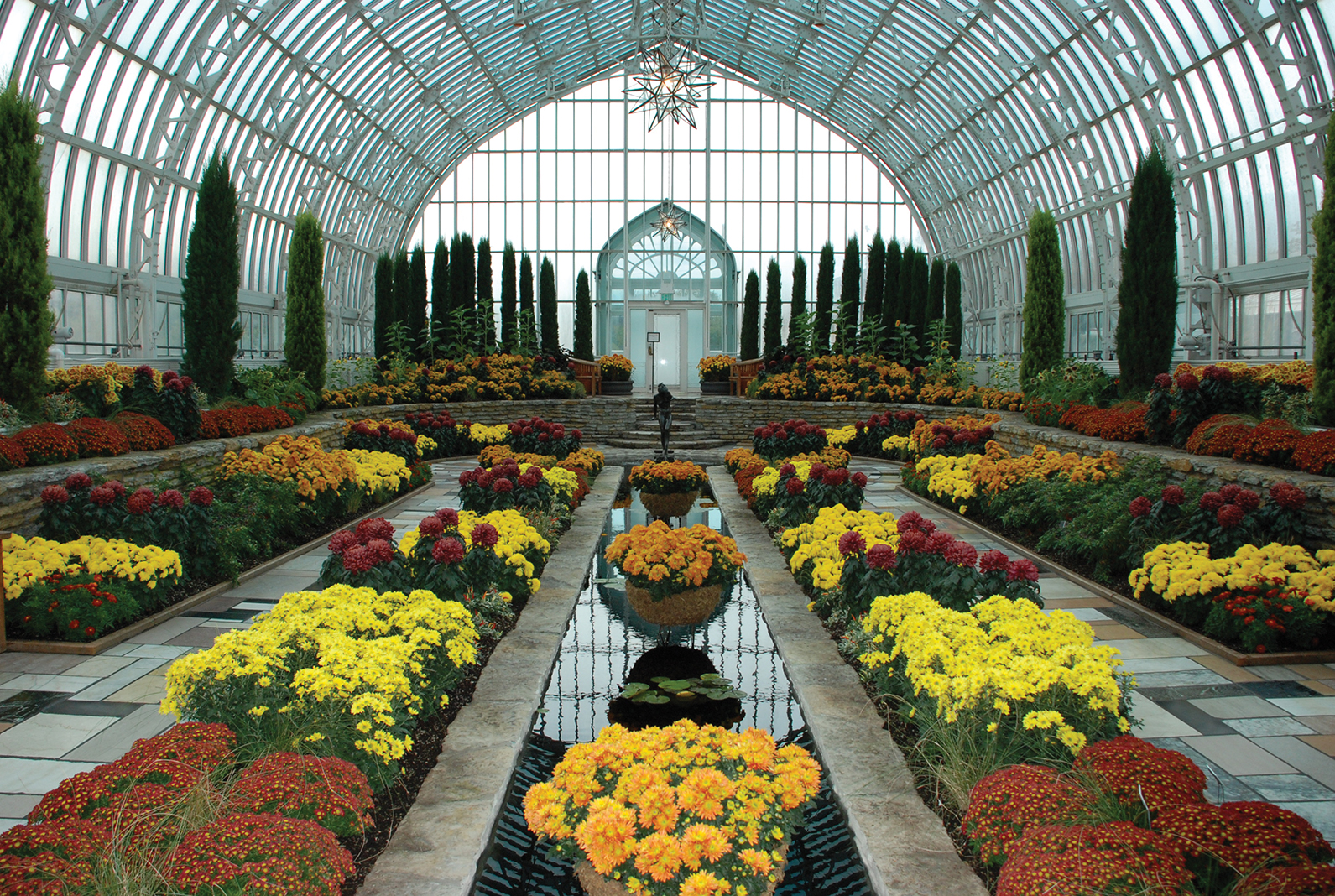 Chrysanthemums fill the Marjorie McNeely Conservatory in St. Paul for fall