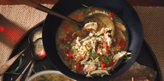 Chicken, Rosemary and Farro Soup and Chicken, Olive and Red Pepper Sandwiches