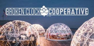 Heated igloos on Broken Clock Brewing patio