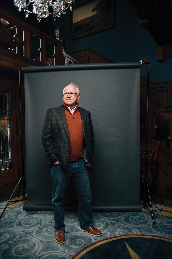 Gov. Tim Walz at the Minnesota governor's residence in St. Paul