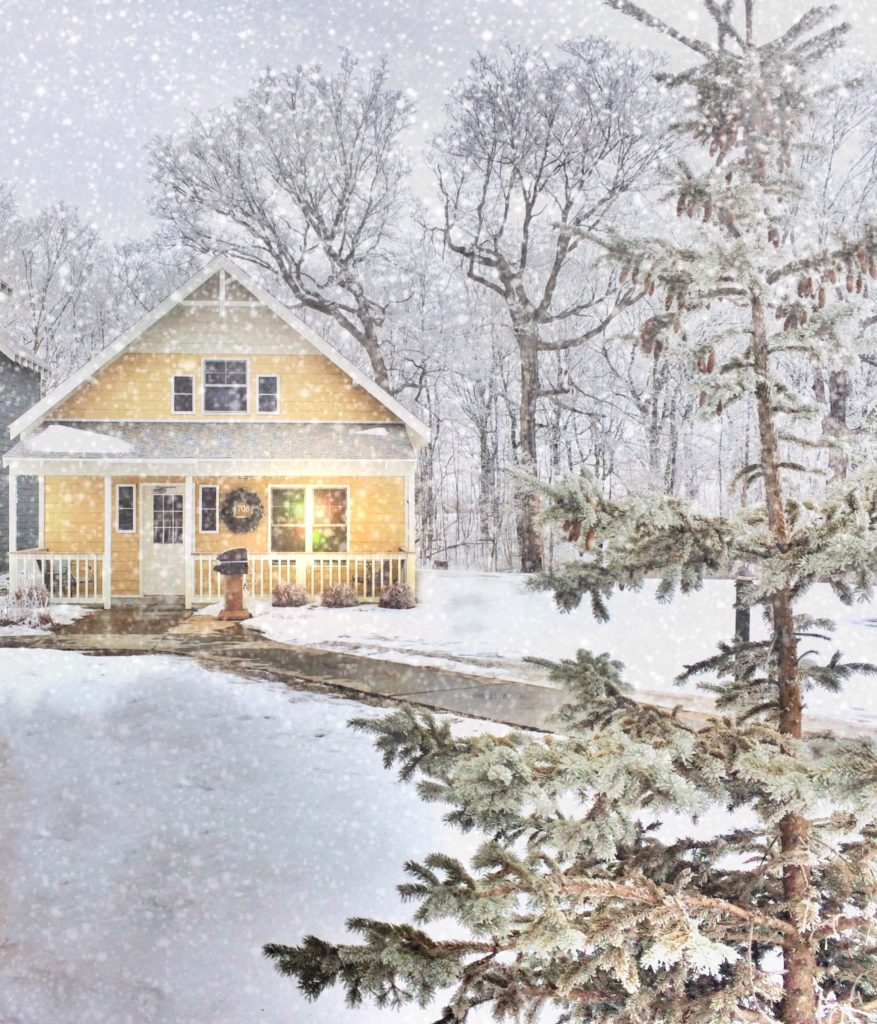 A winter cottage at Arrowwood Resort in Alexandria, Minnesota.