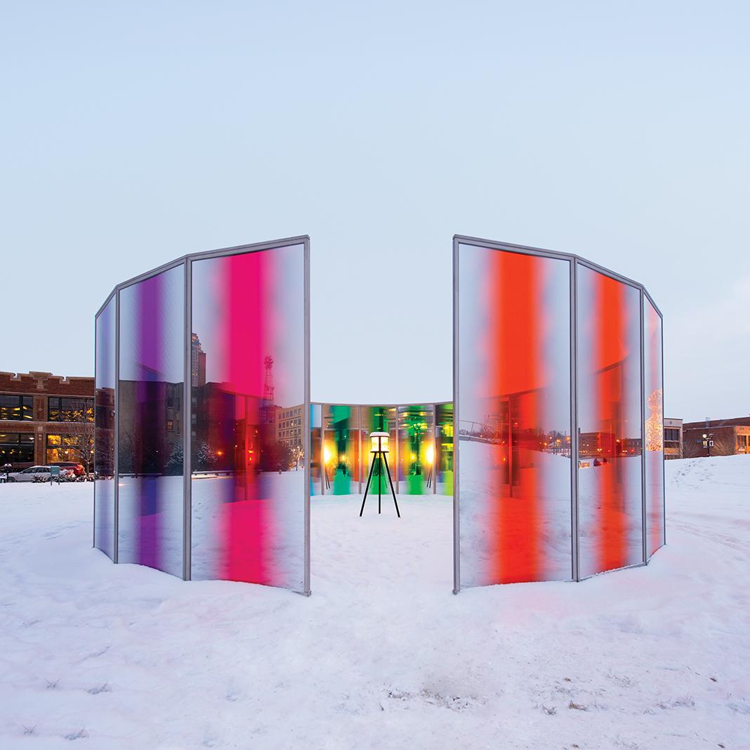 """Panoramic Awareness Pavilion"" (2013) at the John and Mary Pappajohn Sculpture Park"