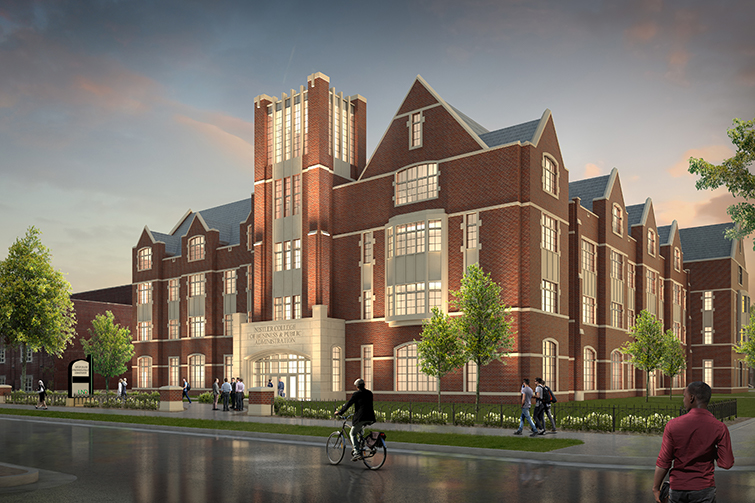 Rendering of new business building at UND