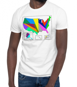 A T-shirt design based on the electoral map