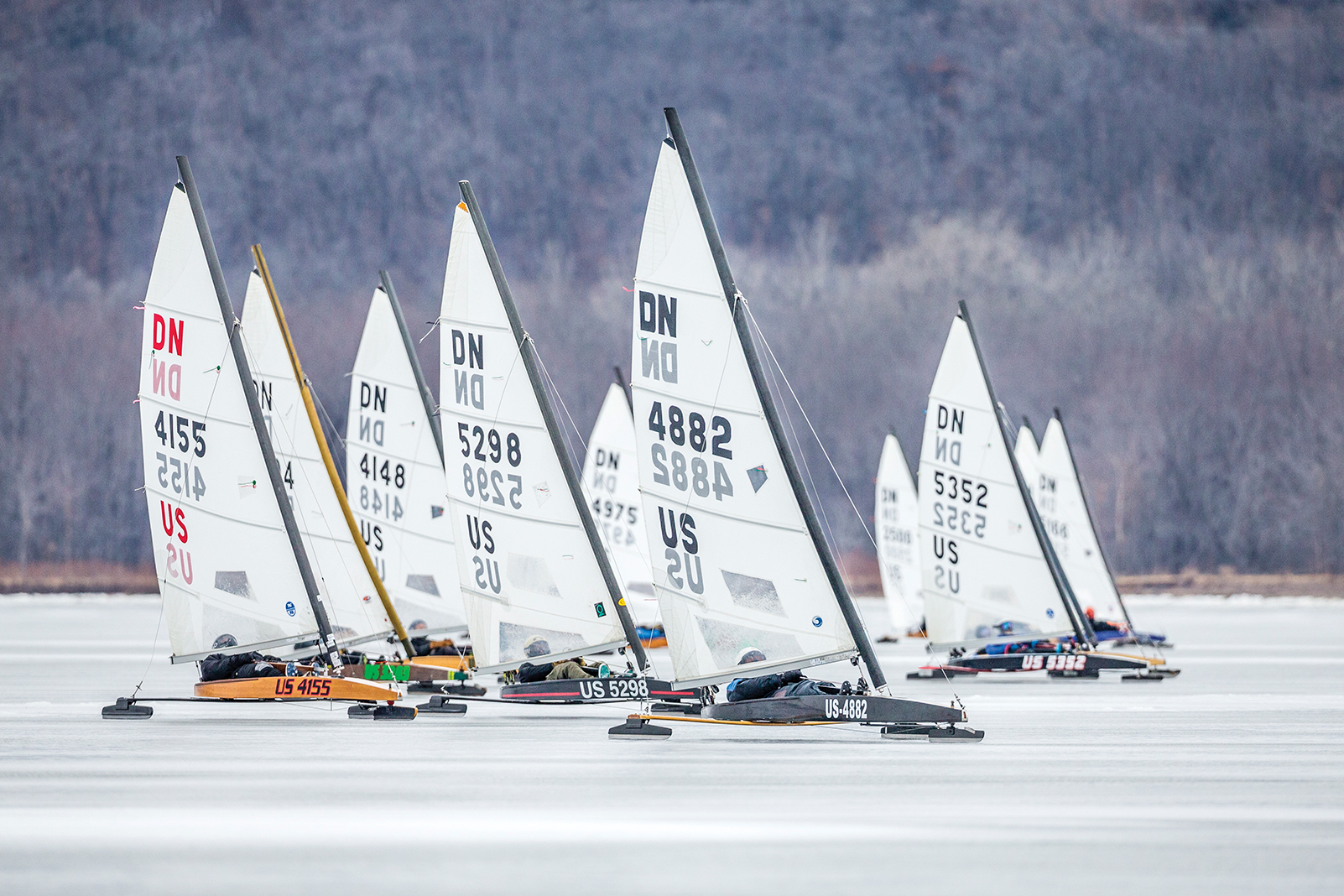 Cool runnings: Iceboats squaring off during a 2019 race on Lake Pepin