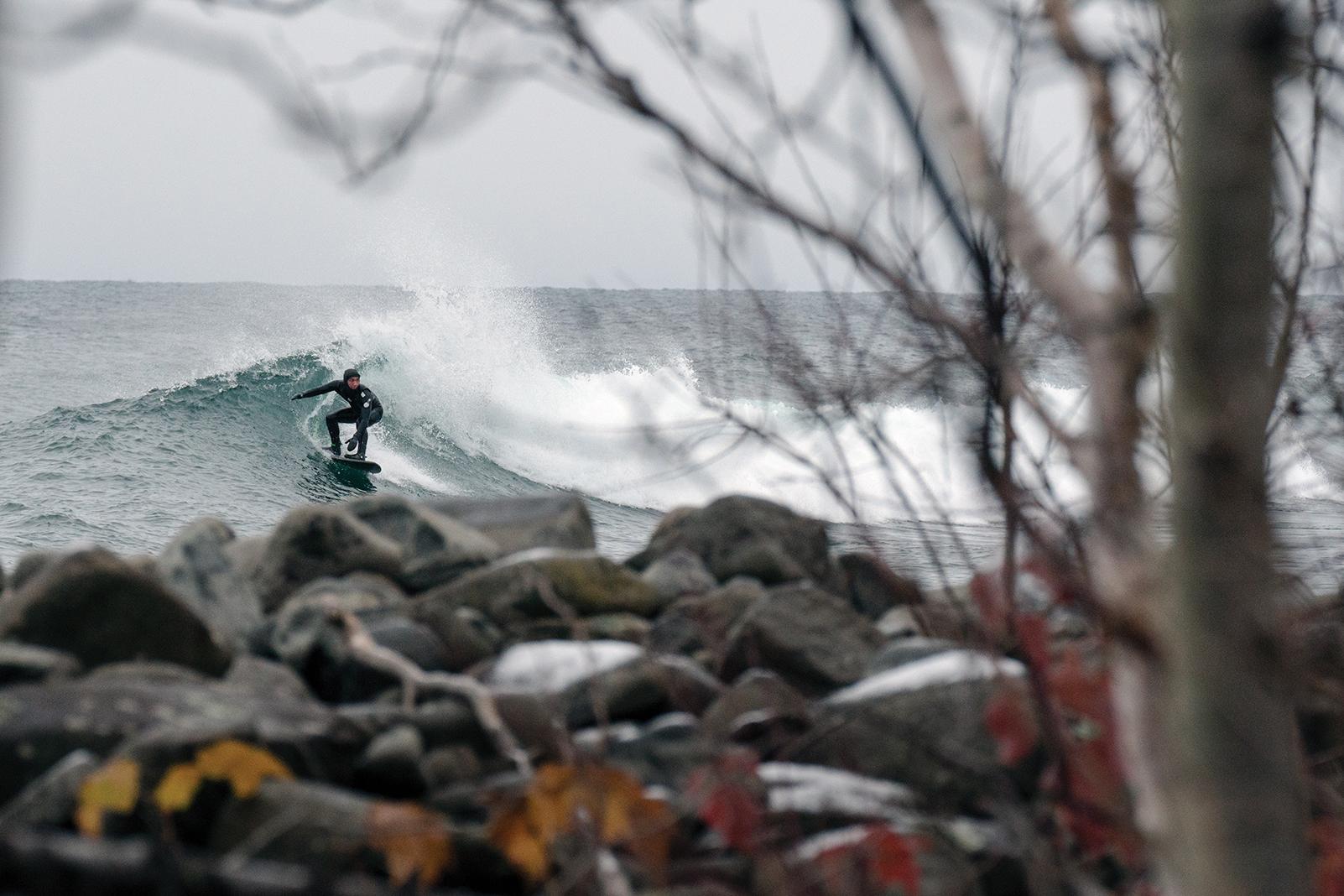 Stoney Point near Duluth is a Minnesota surf spot