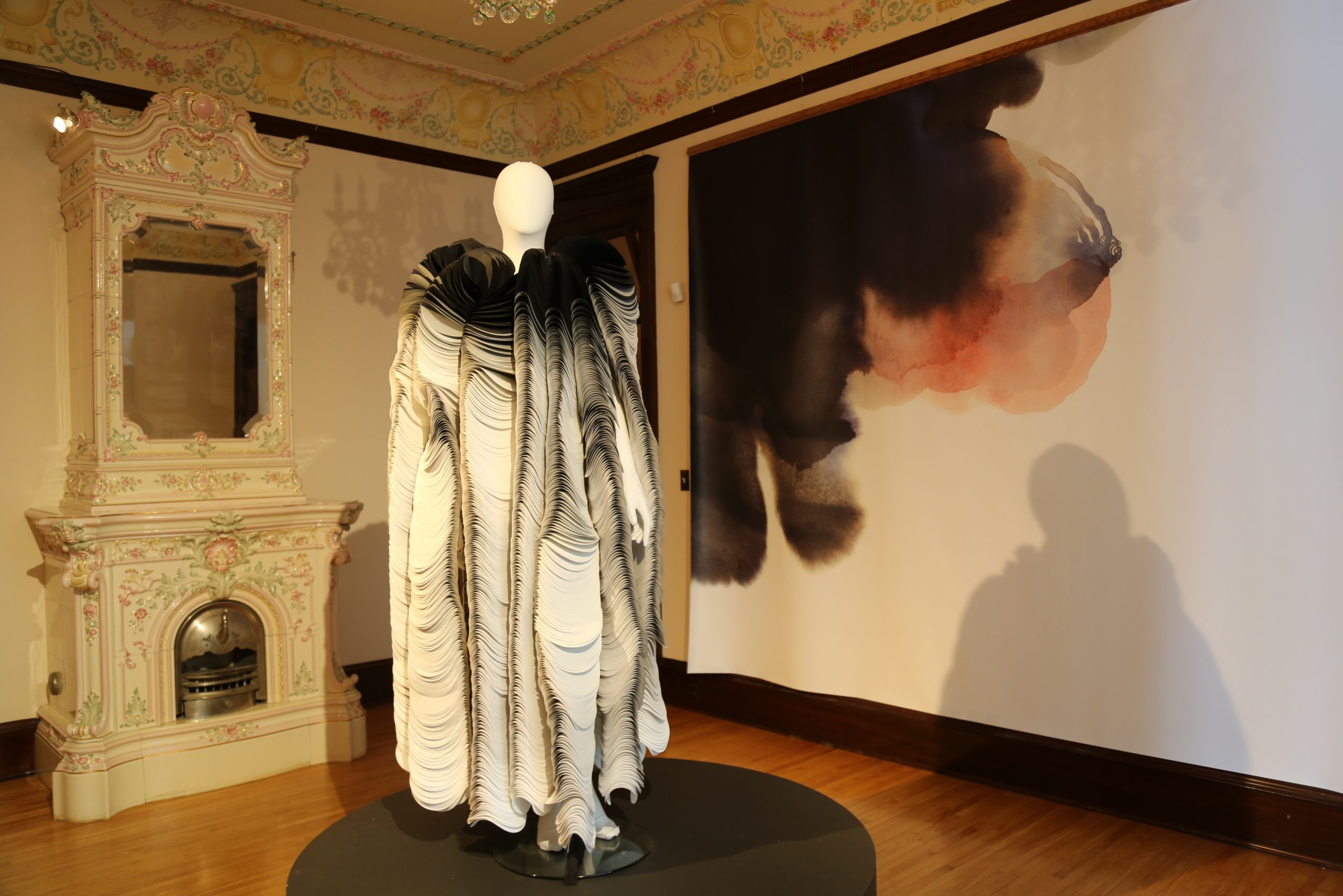 """Paper Fur,"" an example of paper couture at the American Swedish Institute's new exhibit to mark its reopening"