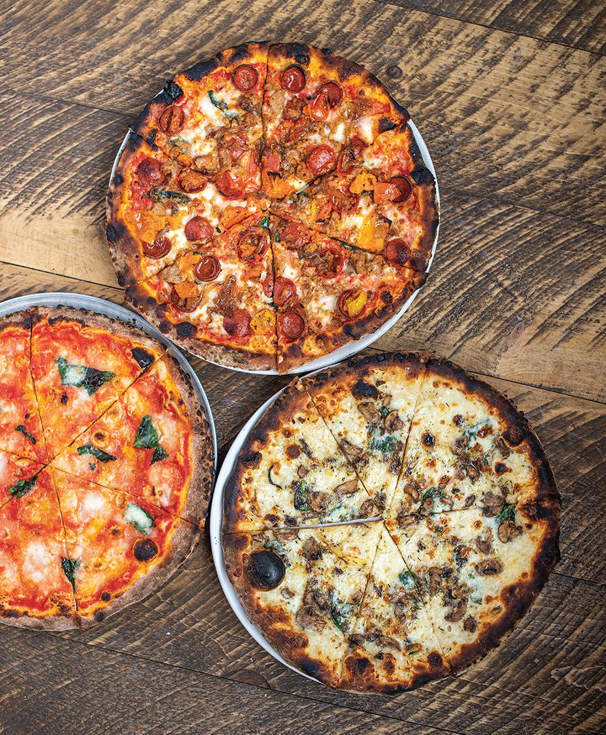 Clockwise, from left: The No. 11 Margarita, No. 12 Tono, and No. 16 Fungo pizzas
