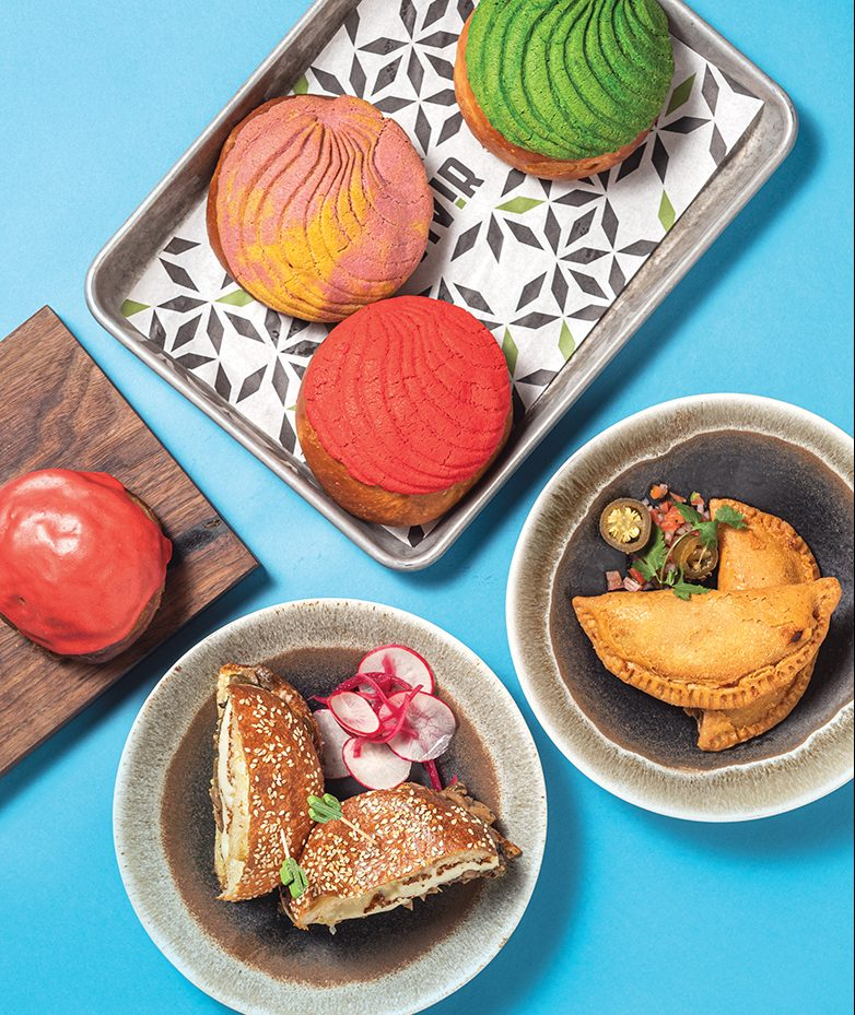 Available at Vivir (from left, clockwise): donut, conchas, empanadas, cemita sandwich