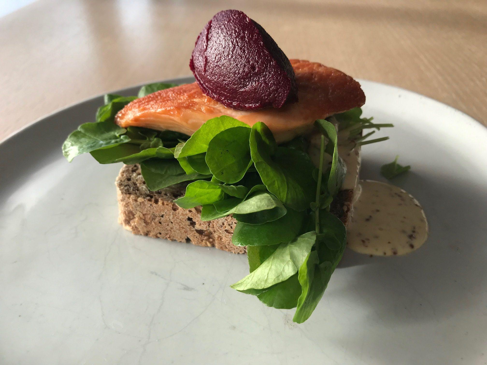 A salmon smörgåsar (open-face sandwich) at FIKA Cafe