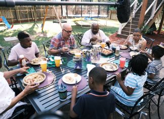 Dinner is served at the Brundidge family during the filming of Family Dinner
