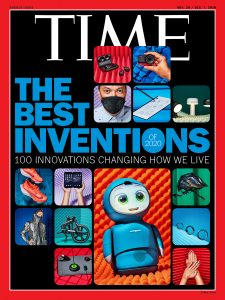 """Time magazine's """"Best Inventions"""" cover, featuring the Minneapolis-made B2 mask"""