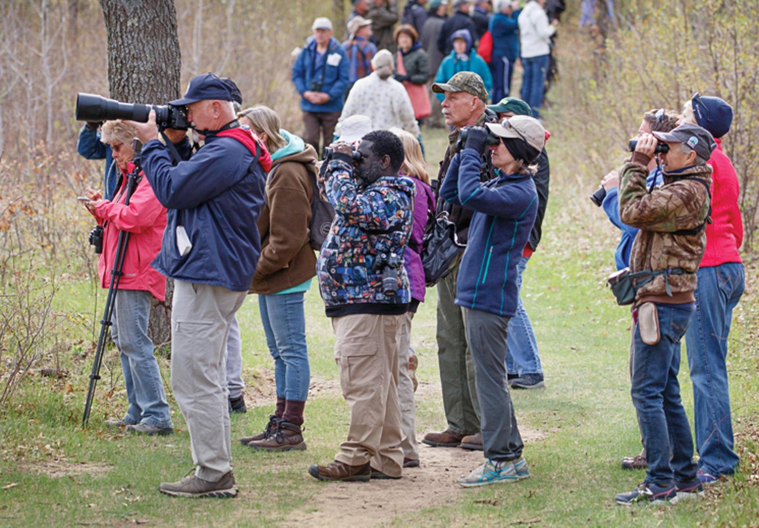 Birdwatchers at Sherburne National Wildlife Refuge in Zimmerman