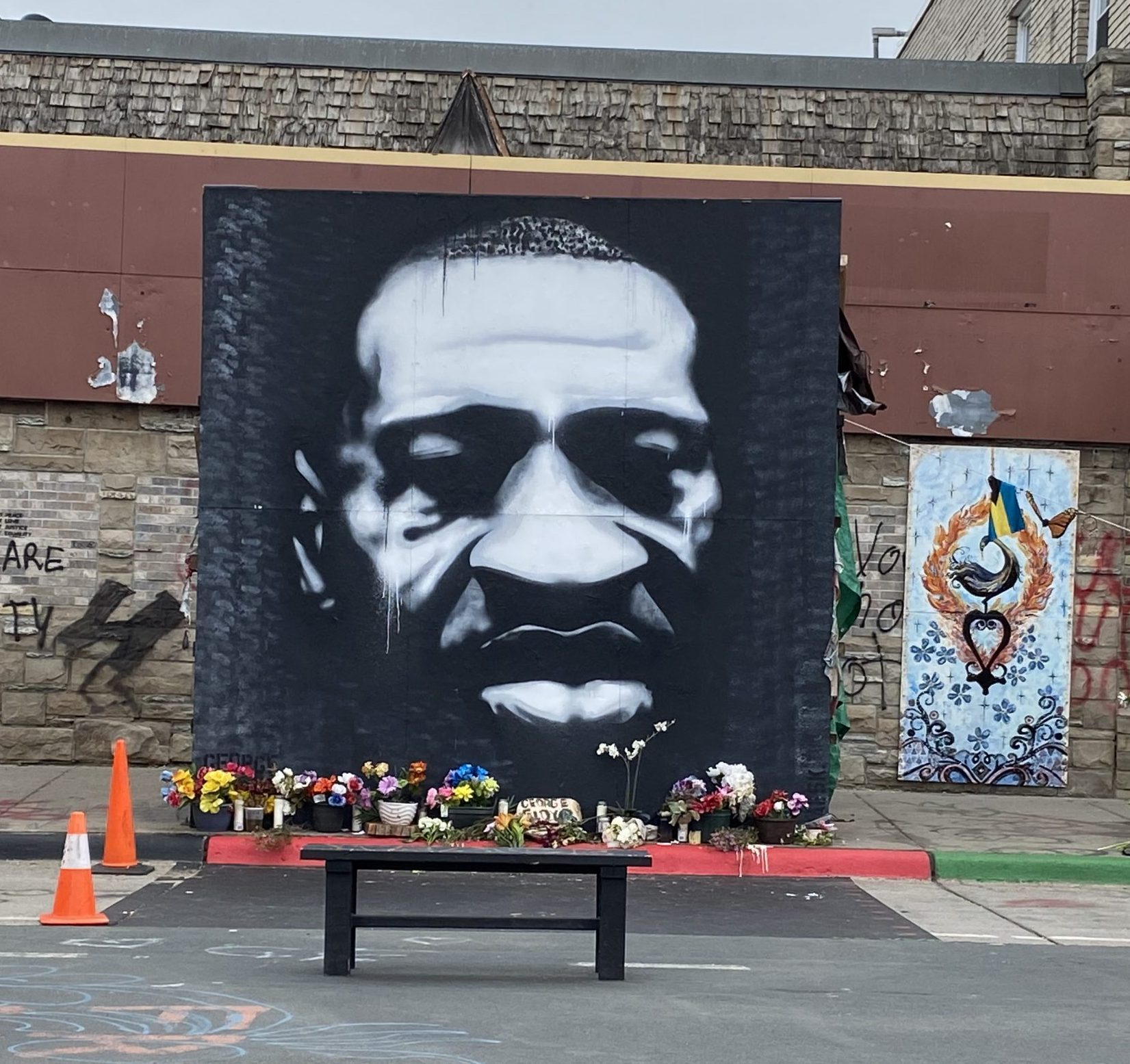 """Peyton Scott Russell's mural, """"Icon of a Revolution"""" at George Floyd Square"""