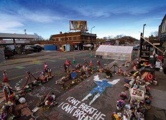 An angel marks the place where George Floyd was held down by police