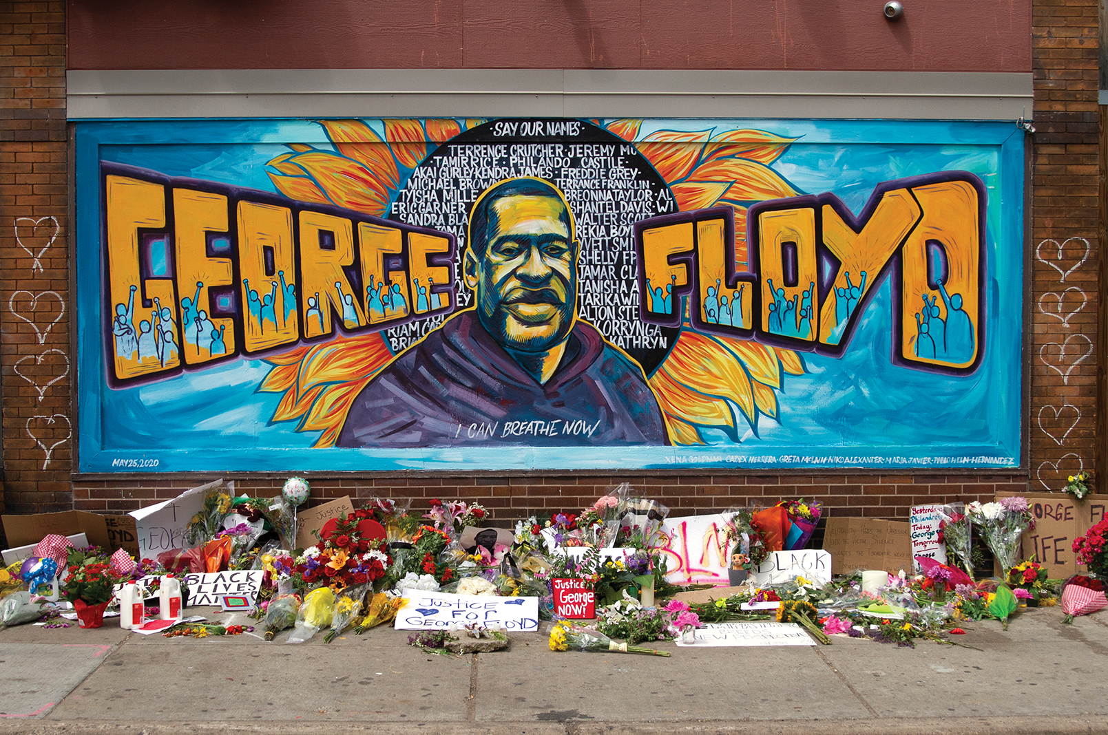 The mural of George Floyd that appeared on the side of Cup Foods on May 29
