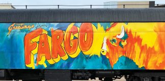 One of the city's many striking murals, by Steve Knutson