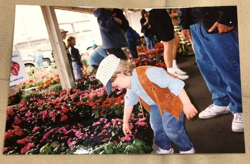 This is a photo of my grandson when I took him to the farmers market when he was young. He turned 29 last Friday.