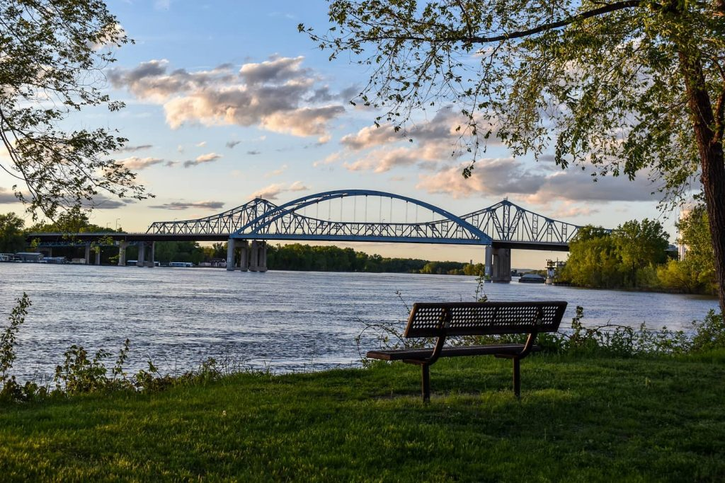 Riverside Park with a view of the bridge