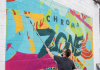 Chroma Zone logo mural painted in 2019 by Wes Winship of Burlesque of North America