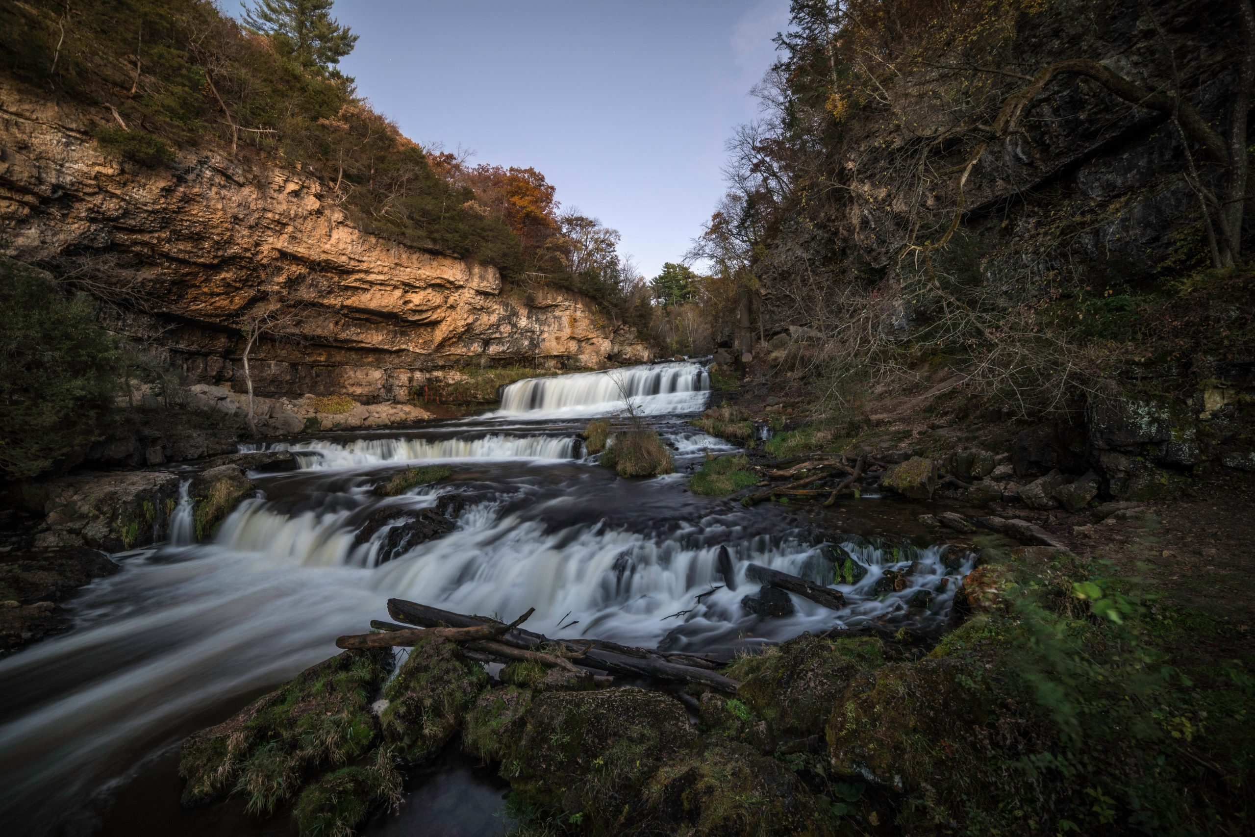 A waterfall at Willow River State Park.